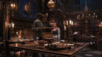 Beauty and the Beast (2017) The Beast (Dan Stevens) and Belle (Emma Watson) in the castle library.