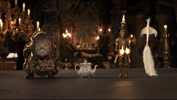 Beauty and the Beast (2017) The mantel clock Cogsworth, the teapot Mrs. Potts, Lumiere the candelabra and the feather duster Plumette.