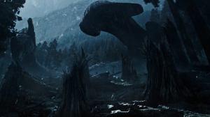 Covenant ship on alien planet in ALIEN: COVENANT (2017)