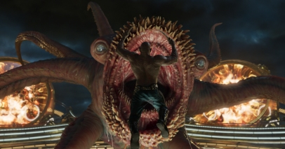 Draw attacks a monster in GUARDIANS OF THE GALAXY, VOL. 2
