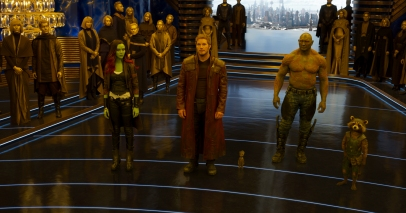 Zoe Saldana as Gamora, Chris Pratt as Star-Lord, and Dave Bautista as Drax in GUARDIANS OF THE GALAXY, VOL. 2