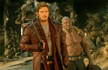 Chris Pratt as Star-Lord and Dave Bautista as Drax