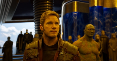 Chris Pratt as Star-Lord and Dave Bautista as Drax in GUARDIANS OF THE GALAXY, VOL. 2