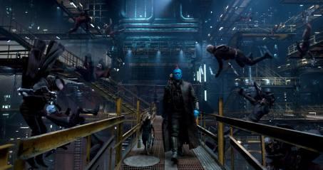 Bradley Cooper as Rocket, Michael Rooker as Yondu, and Baby Groot