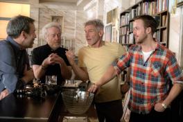 Denis Villeneuve, Ridley Scott, Harrison Ford, and Ryan Gosling on set for BLADE RUNNER 2049.