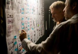 Harrison Ford and Denis Villeneuve on set for BLADE RUNNER 2049.