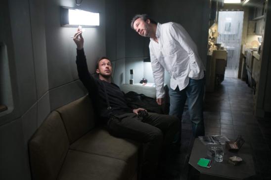 Ryan Gosling and Denis Villeneuve on set for BLADE RUNNER 2049.