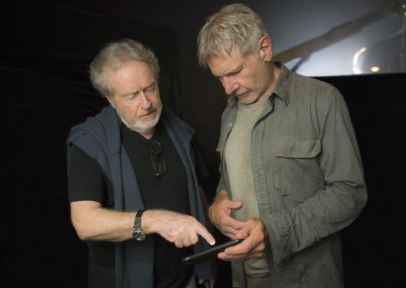 Ridley Scott and Harrison Ford on set for BLADE RUNNER 2049.