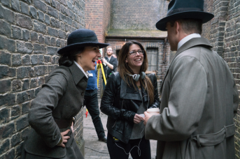Gal Gadot, director Patty Jenkins, and Chris Pine on set in WONDER WOMEN