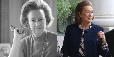 The real Kay Graham, and Meryl Streep as Kay Graham in THE PAPERS.