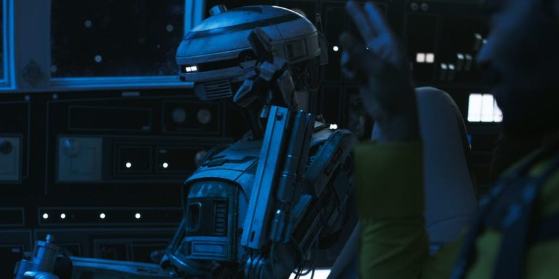 Phoebe Waller-Bridge as the robot L3-37 in SOLO: A STAR WARS STORY